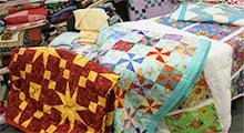 Colorful quilts on display
