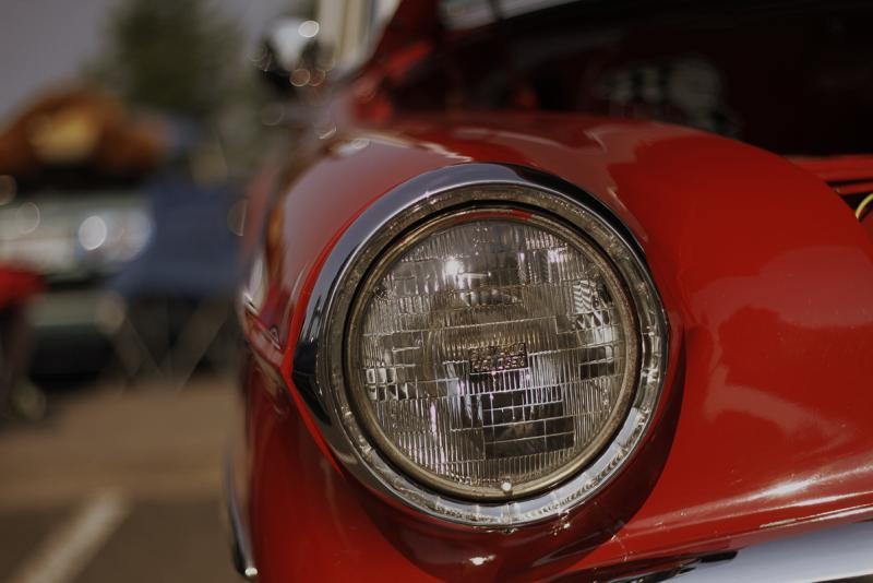 Close up of a classic car headlight