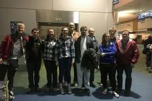 team members at airport